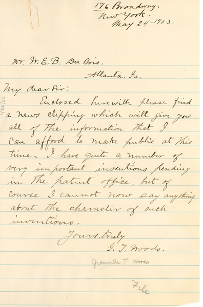 Letter from Granville Woods to W.E.B. DuBois discussing some of his inventions.