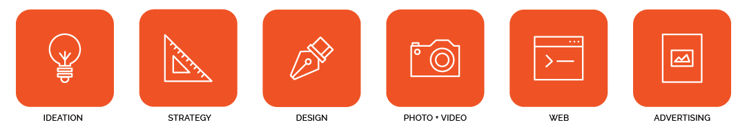 Ideation, Strategy, Unique Design, Graphic Design, Photography, Video, Website Design and Advertising Icons