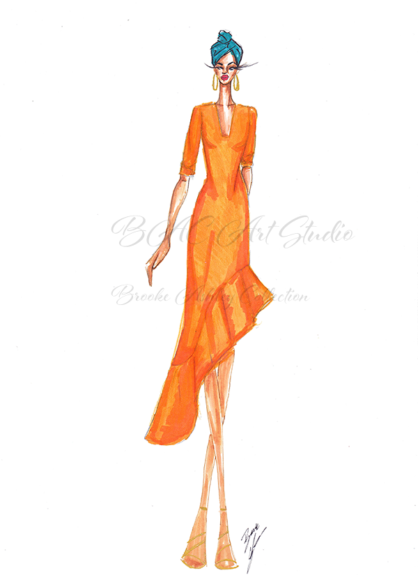 BAC Orange Asymmetrical Dress2.png