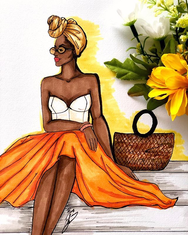 Hello Monday! ☀️😎🌼 #mondaymornings #fashionart #fashionsketch #fashionillustration #fashionillustrator #summerstyle #fashiondrawing #fashion #illustration #flowers #headwrapstyle