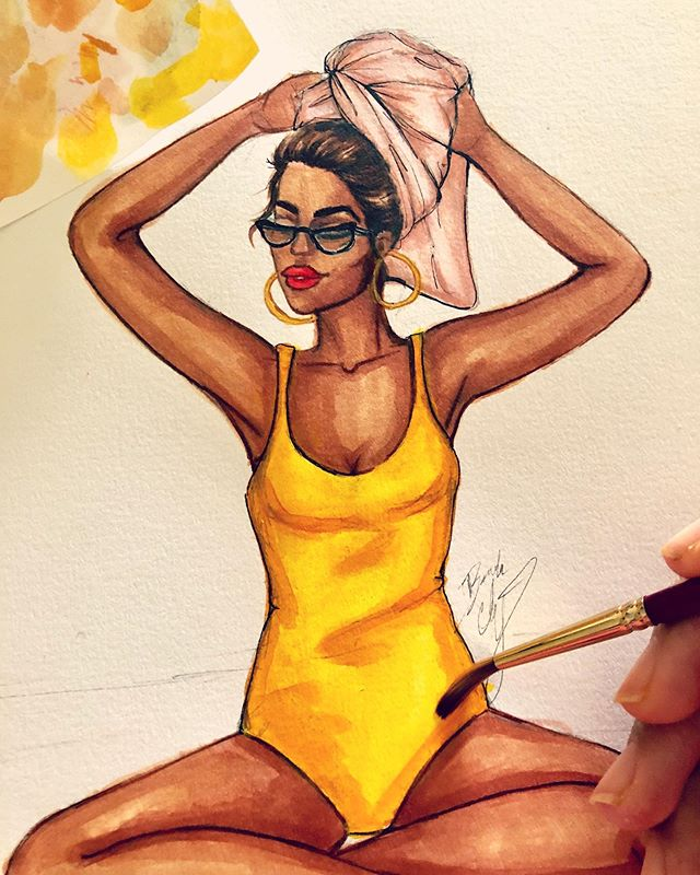 #summer art preview#sunkissed ☀️☀️#beachvibes #wip #fashionillustration #fashionart #fashionsketch #fashionillustrator #summerstyle #fashiondrawing #copicmarkers #watercolor #bacartstudio #prints