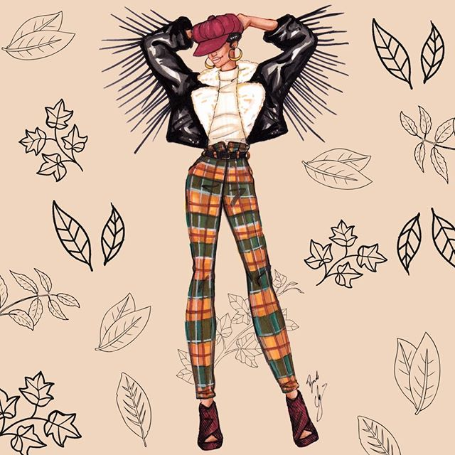 Almost Fall Vibes 🍂🍁  #fallvibes #fallfashion #fashionillustration #fashionsketch #fashiondrawing #fallprints #etsyprints #autumn #BACartStudio #Ilovefall #falliscoming