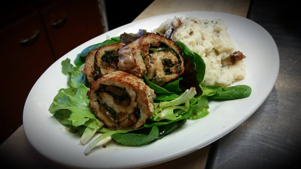 Pork Roulade with side of bacon mashed potatoes.