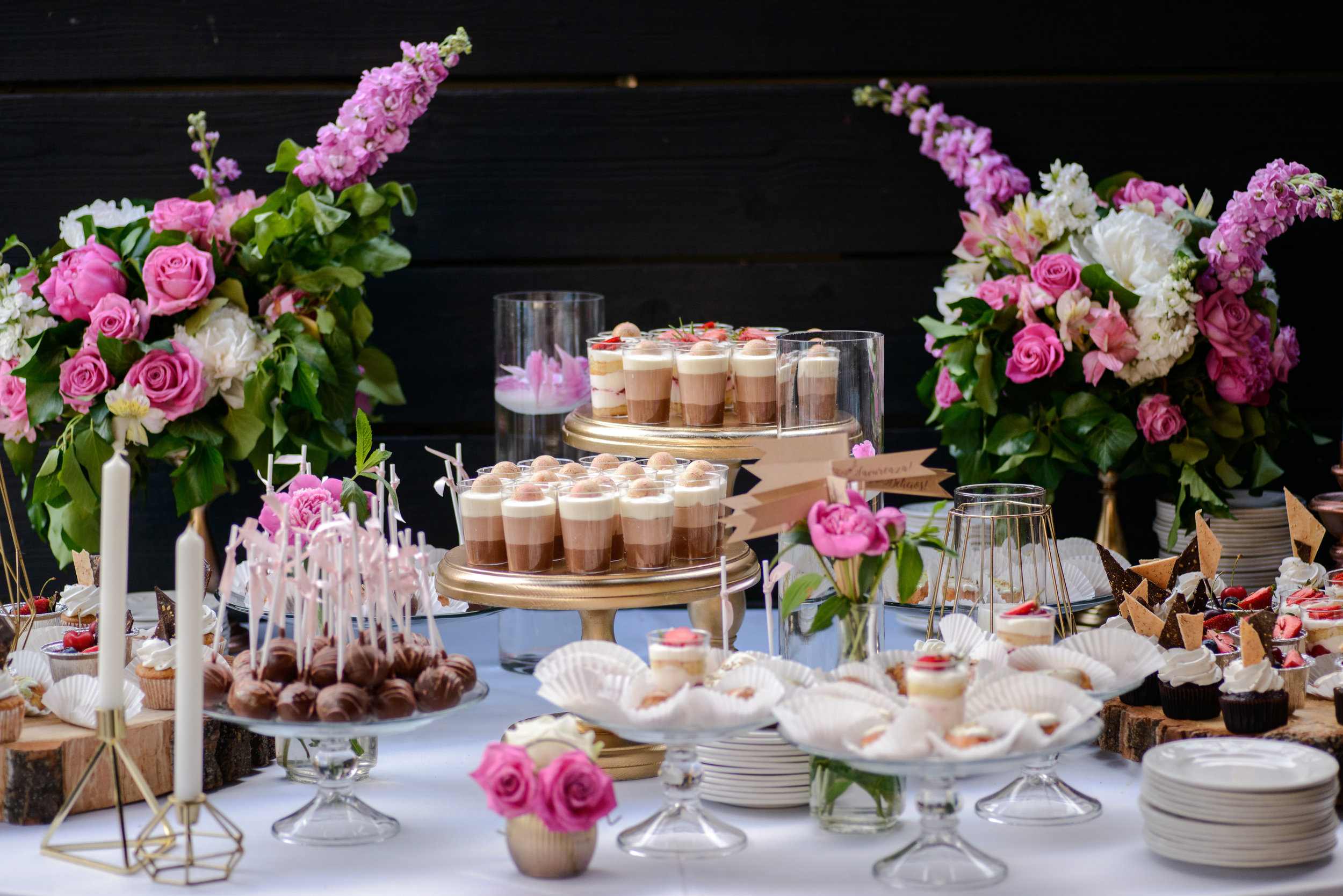 The Experience - • Custom Event Design • Custom Dessert Bar Styling• Day of Coordination• Consulting