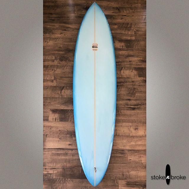 """6'11"""" Stu Kenson 70s Inspired Mid Length. Available on www.stokenbroke.com. @sk_shape #stukensonsurfboards #surfboards #stokenbroke #singlefin"""