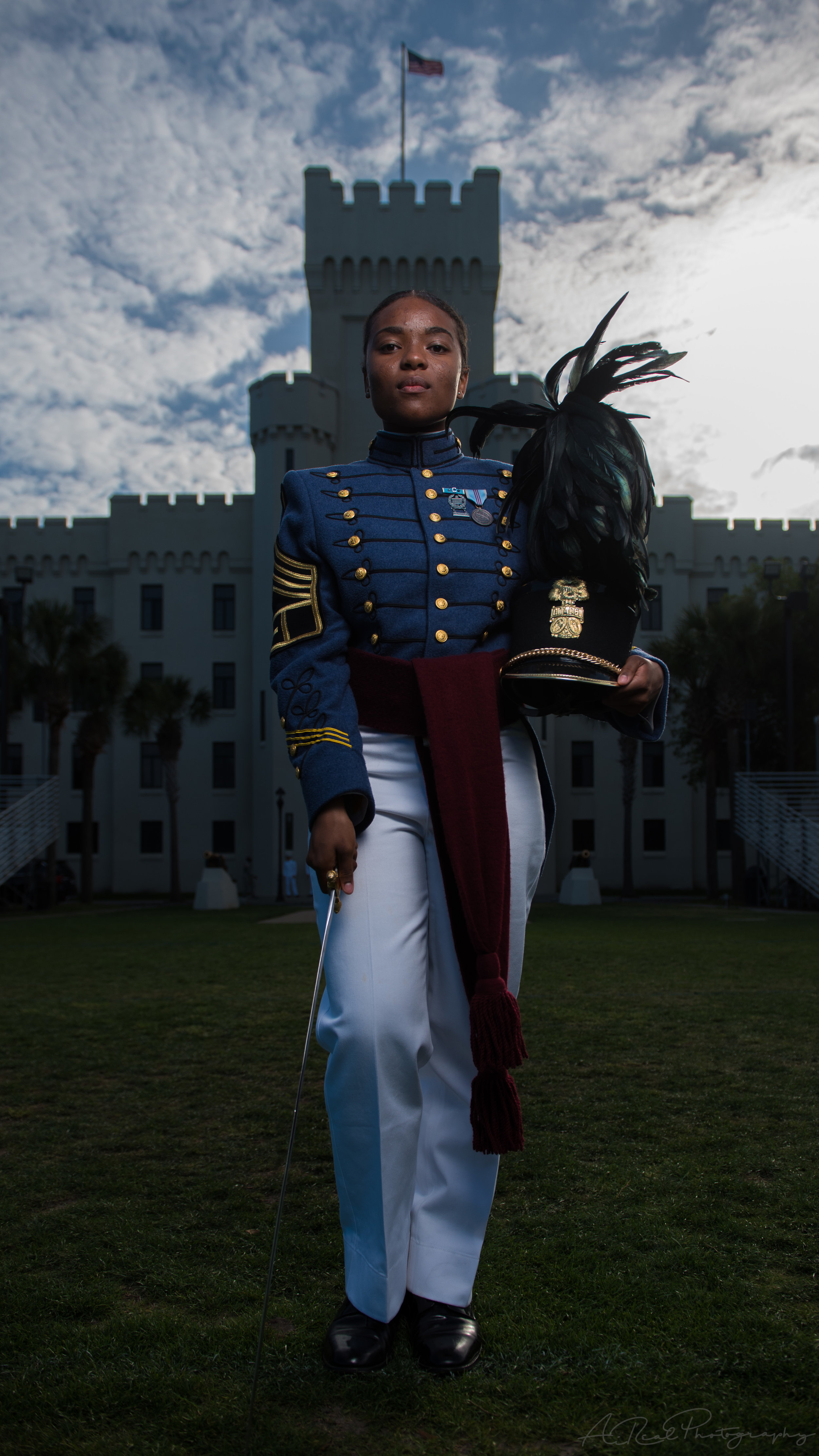 Cadet Captain Cass stands in front of 2nd Battalion @ The Citadel.
