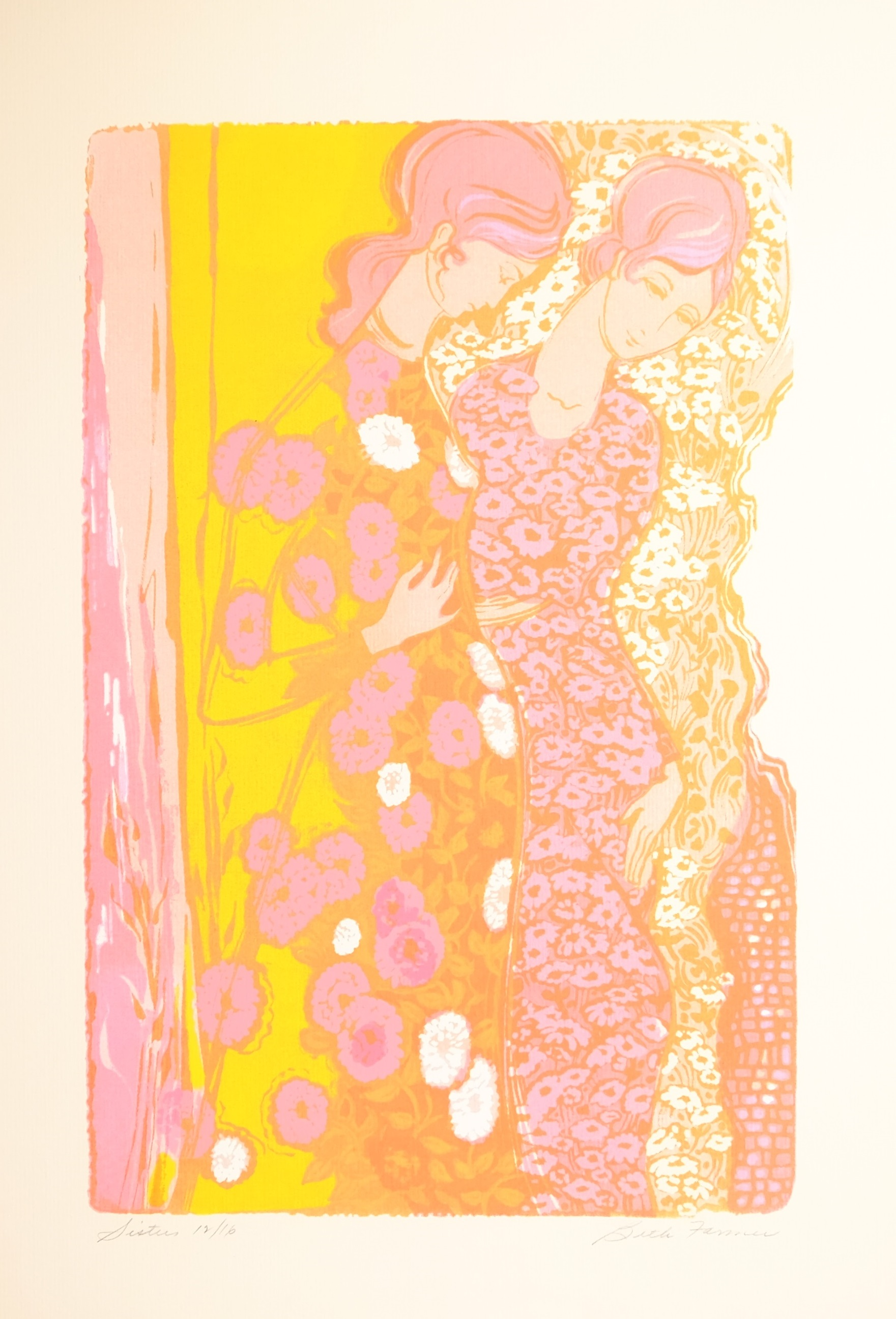 Sisters Yellow/Pink on pink paper, $227