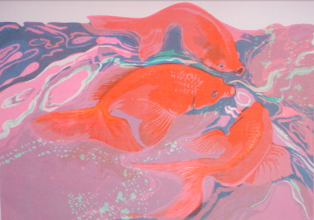 Goldfish, Pink/Blue, $350