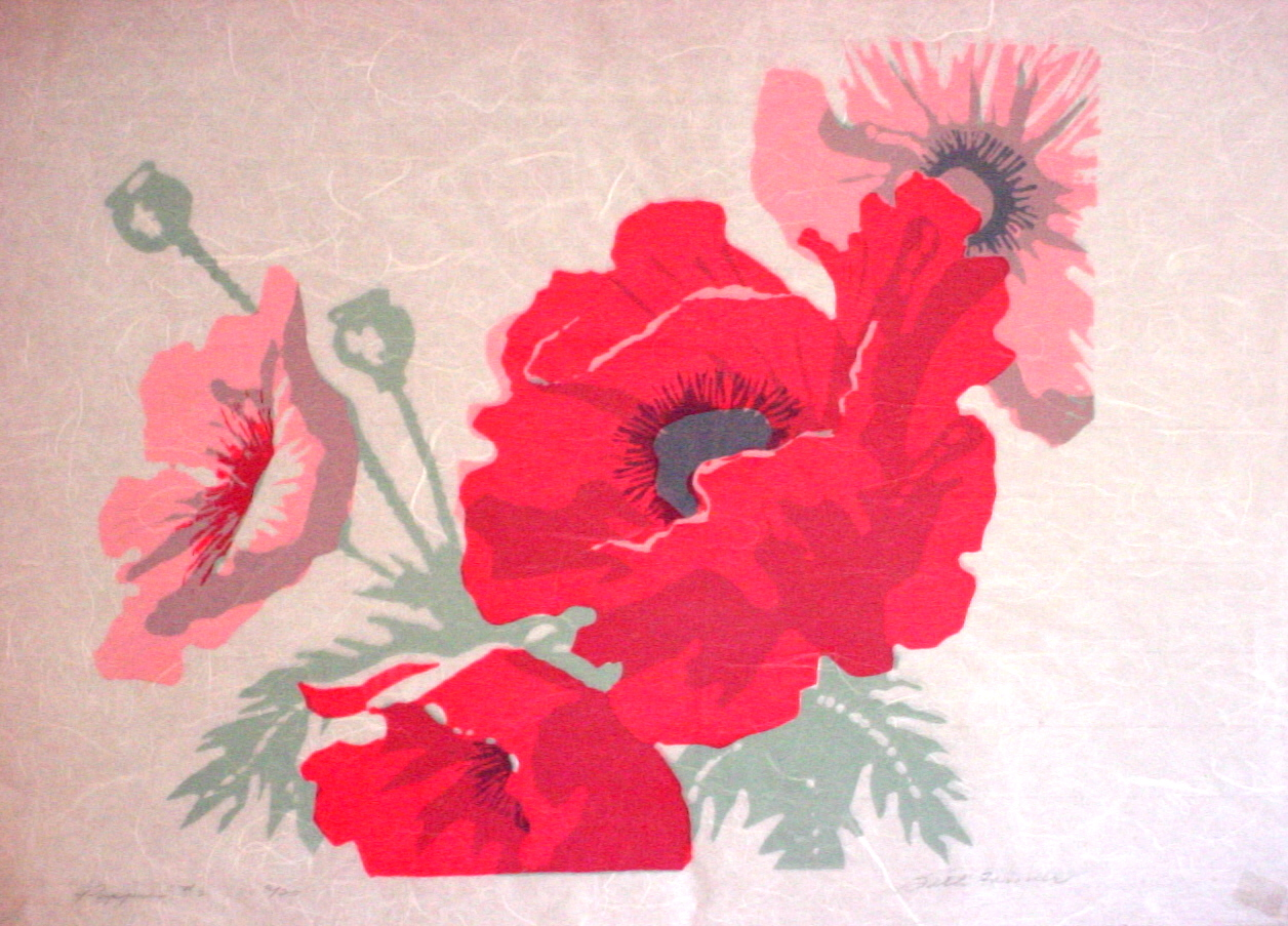 Poppies #2 on rice paper - SOLD