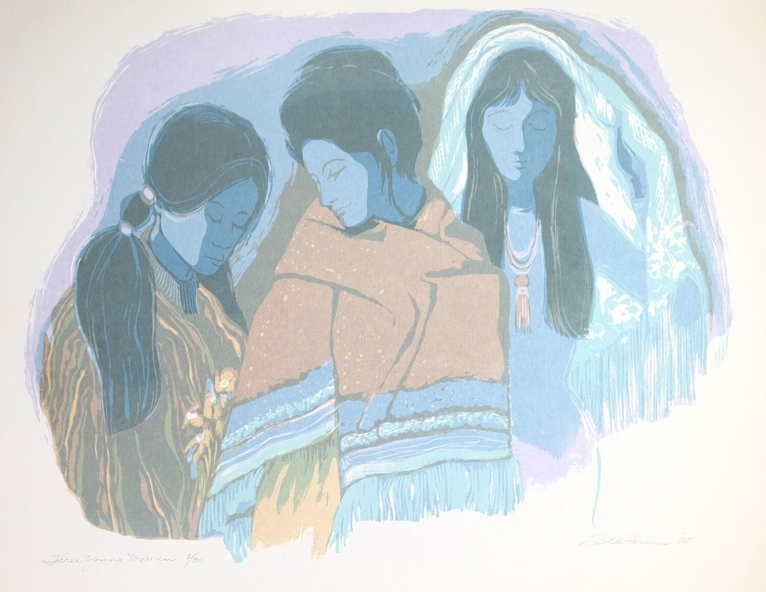 Three Young Women, Blue, $175