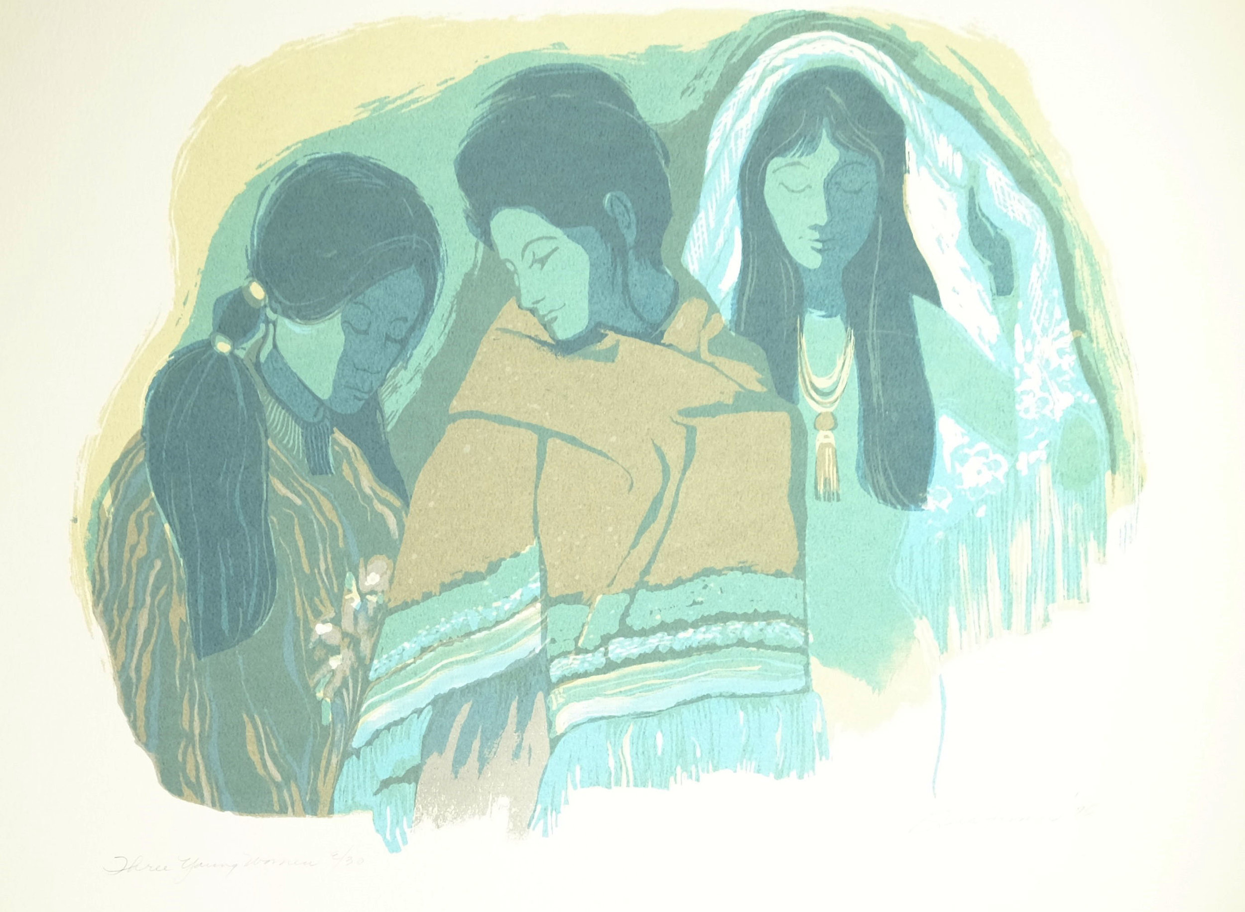 Three Young Women, Aqua, $175