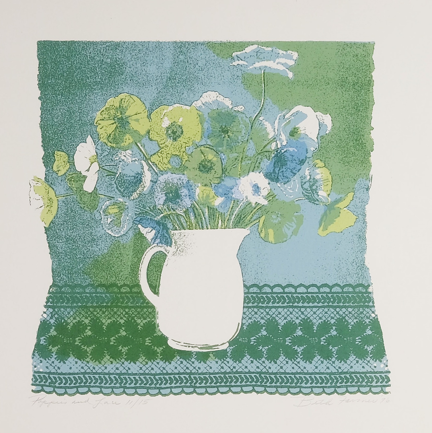 Poppies & Lace, Blue/Green, $150