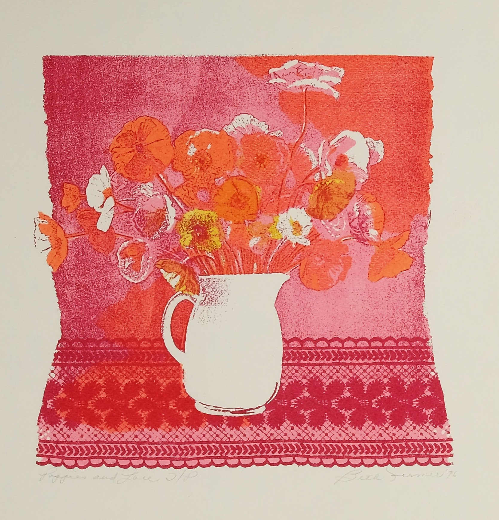 Poppies & Lace, Bright Pink, $150