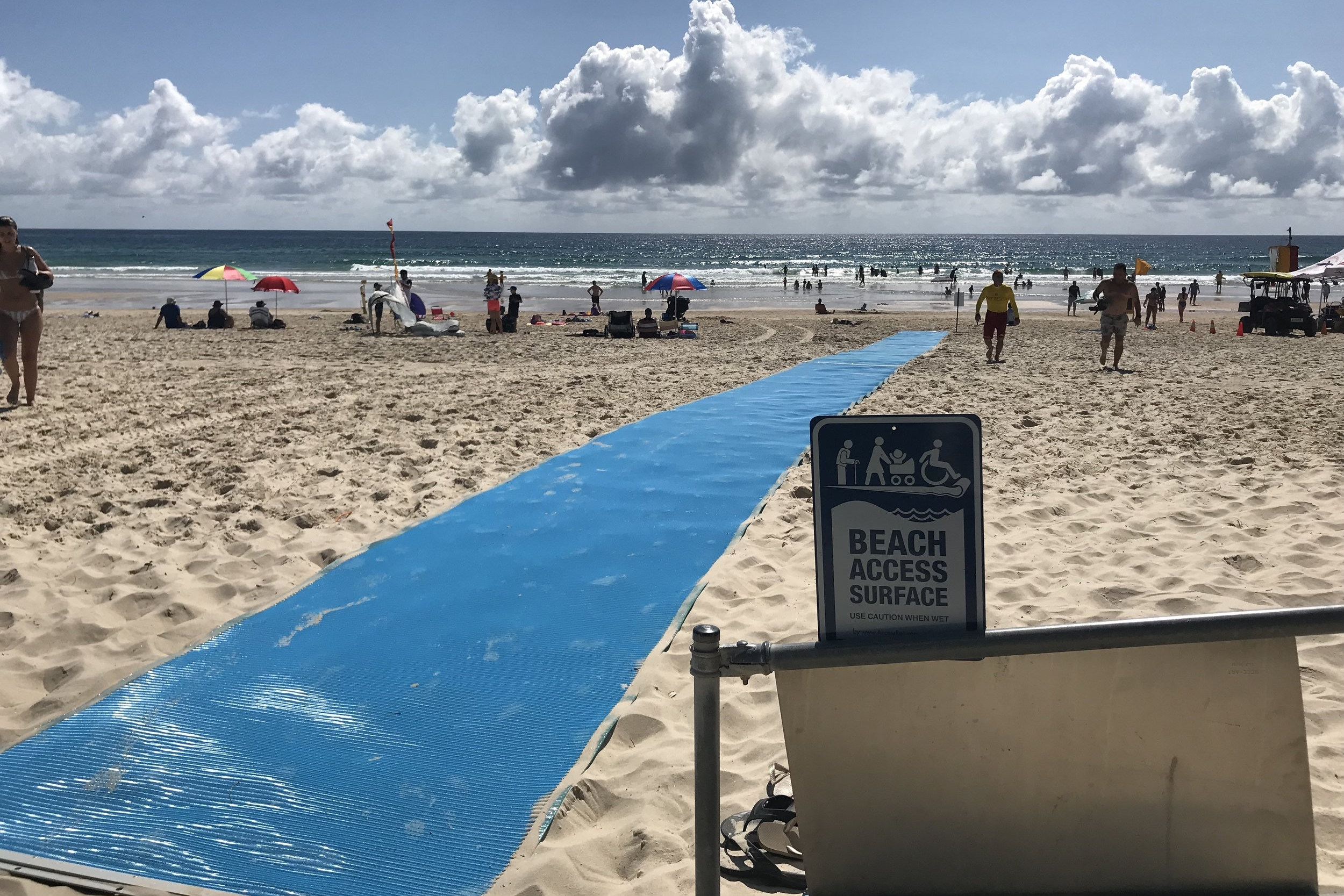 Community Engagement - As an charitable organisation, our object is to provide for the community. In addition to patrolling services, Nobby's Beach SLSC has strong relationships with other community organisations as well as supporting the local community through initiatives such as the Beach Access Matting (pictured).