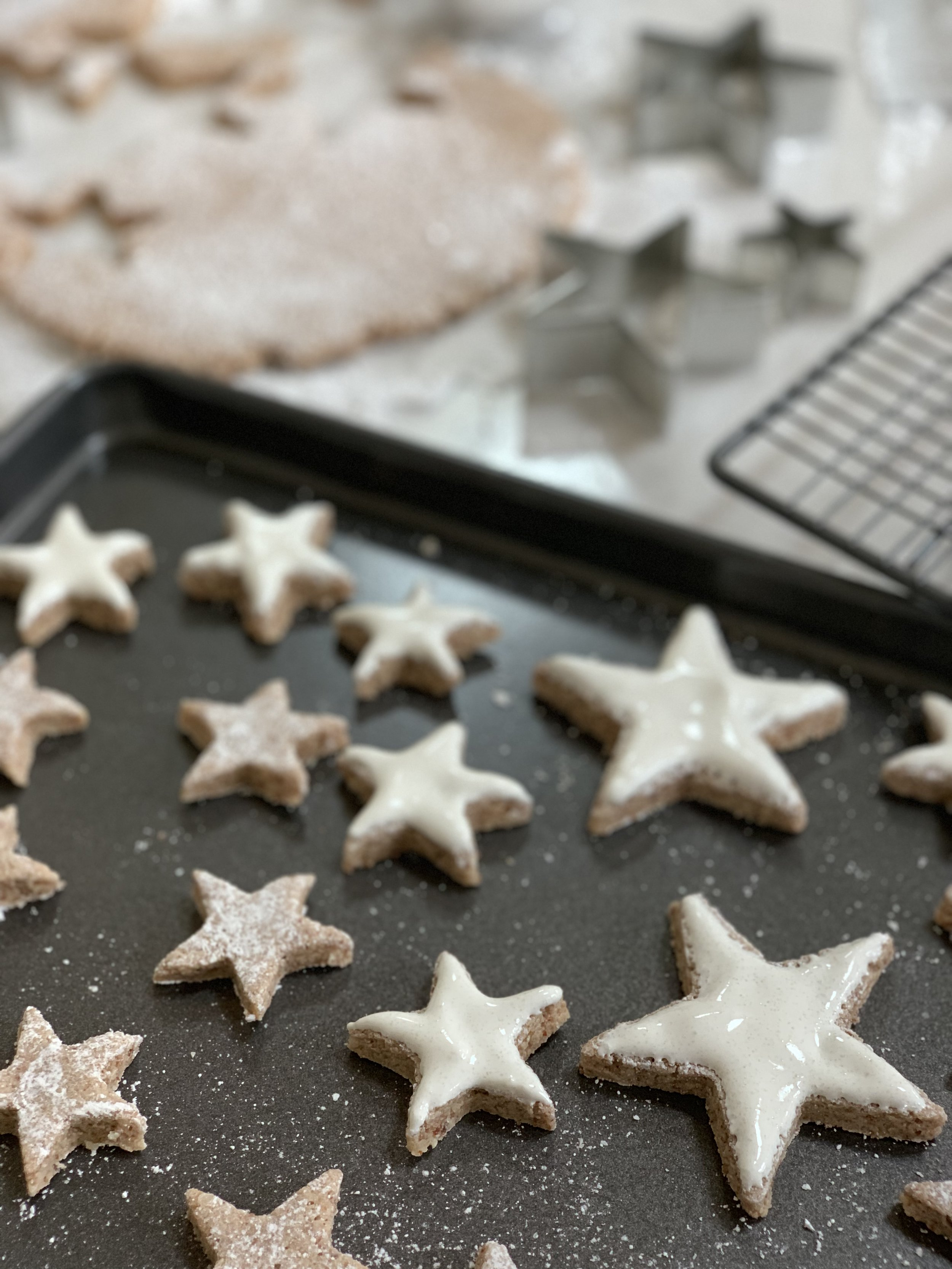 Cutting and icing cinnamon stars