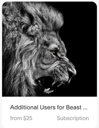 Additional Users - Beast Mode - $25 Per Month - For our members who have teams over and above 3 users, additional users can be purchased here.