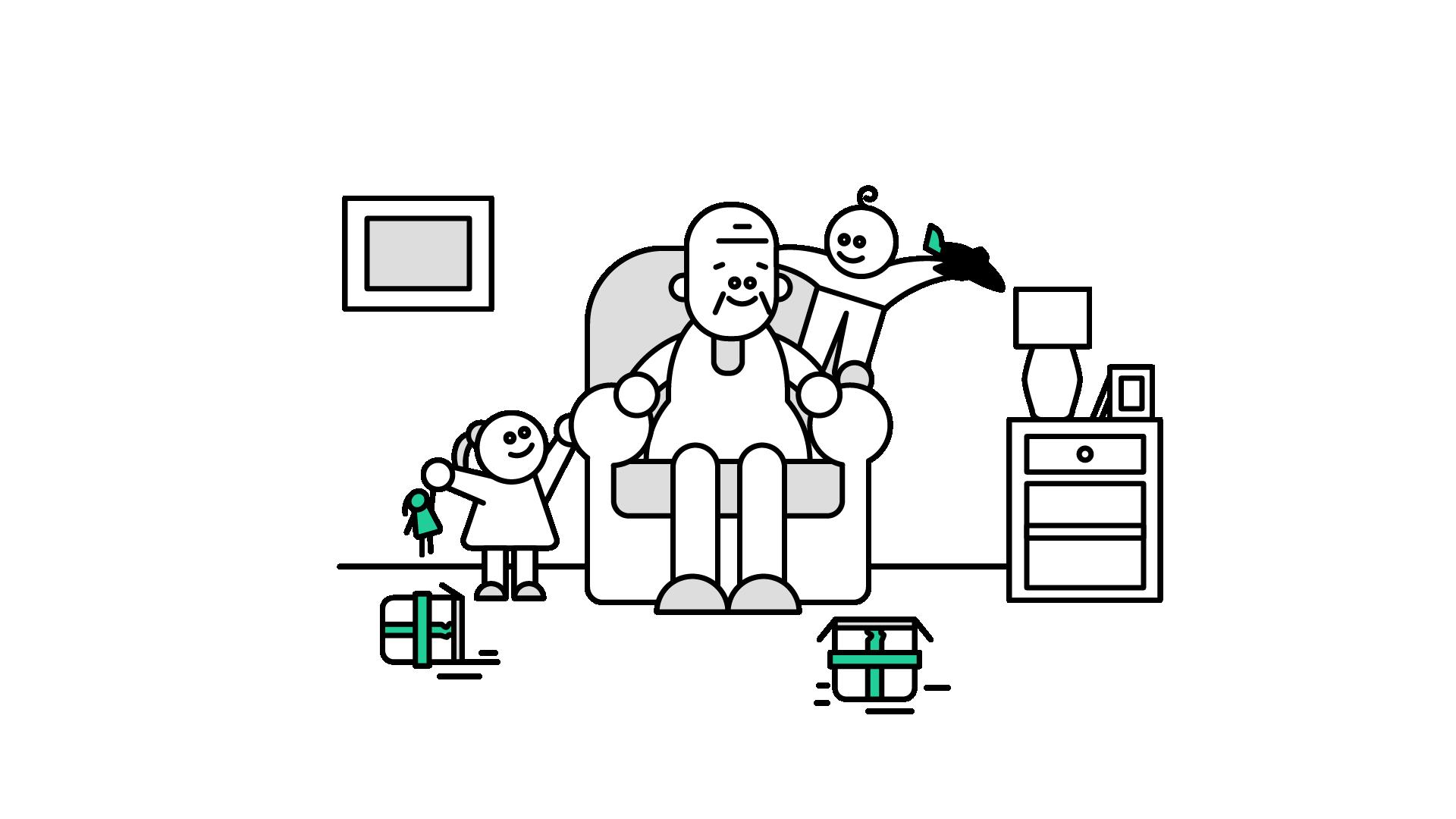 Grandpa kids toys playing