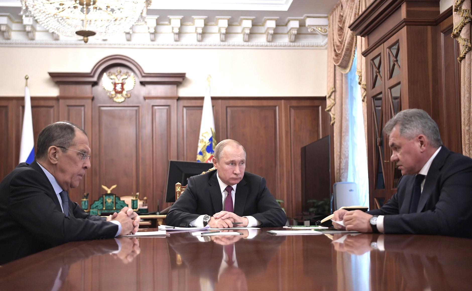 Russian President Vladimir Putin meeting with Foreign Minister Sergei Lavrov (left) and Defence Minister Sergei Shoigu on 2 February 2019. Photo Credit:  http://en.kremlin.ru/events/president/news/59763