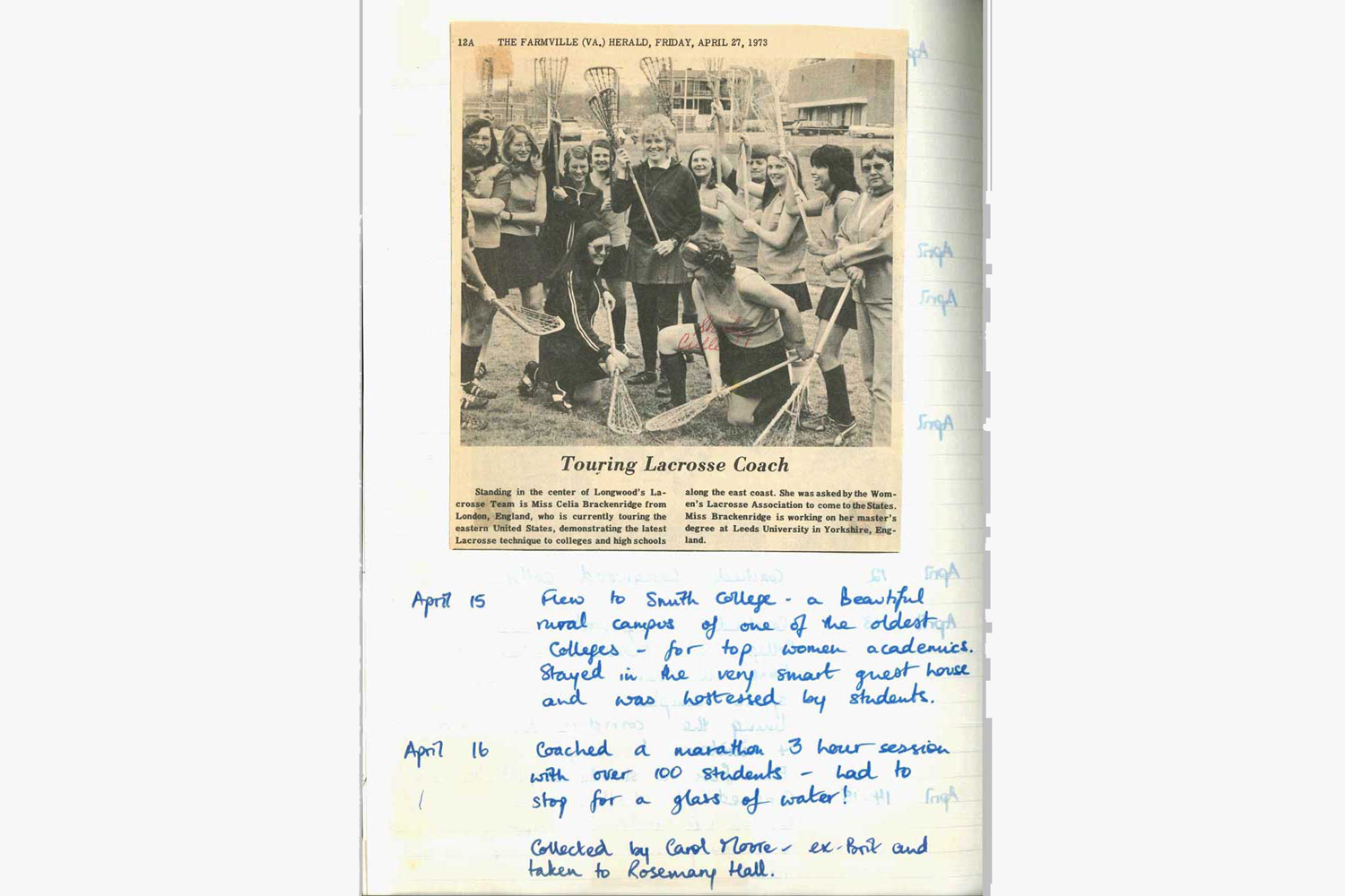 1973 diary, including clipping showing Celia coaching in US schools