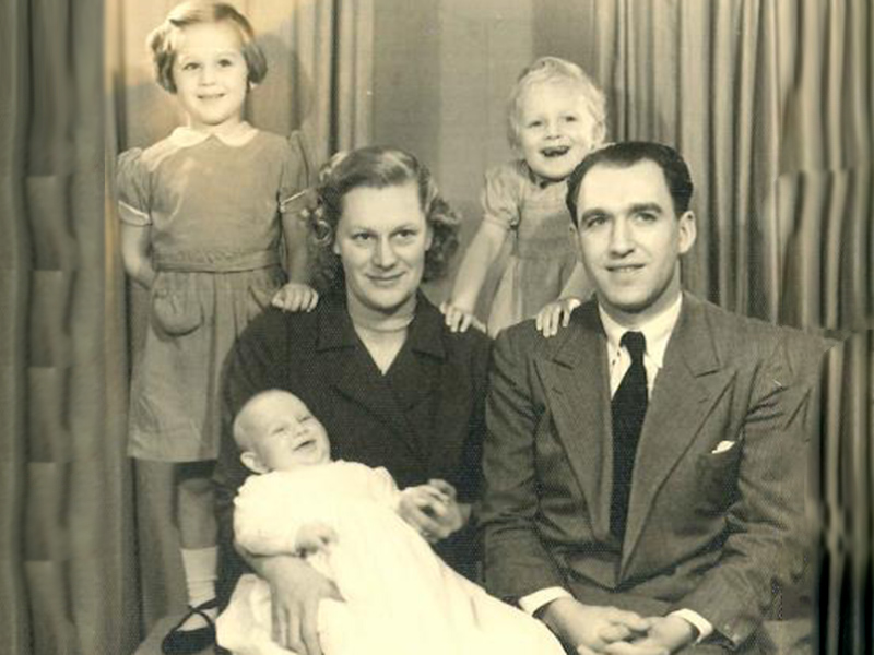 Celia (top right) with her mother, father, older sister and younger brother in 1954.
