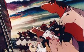 Revolutionary scene from George Orwell's Animal Farm.