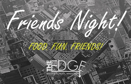 Think of a Lock-in, now squeeze all that fun into 3 hours on a Friday night and that's how we get friends night! We'll have tons of food, soda pop, 9 square, basketball, volleyball, video games, photo booth, music, and more!