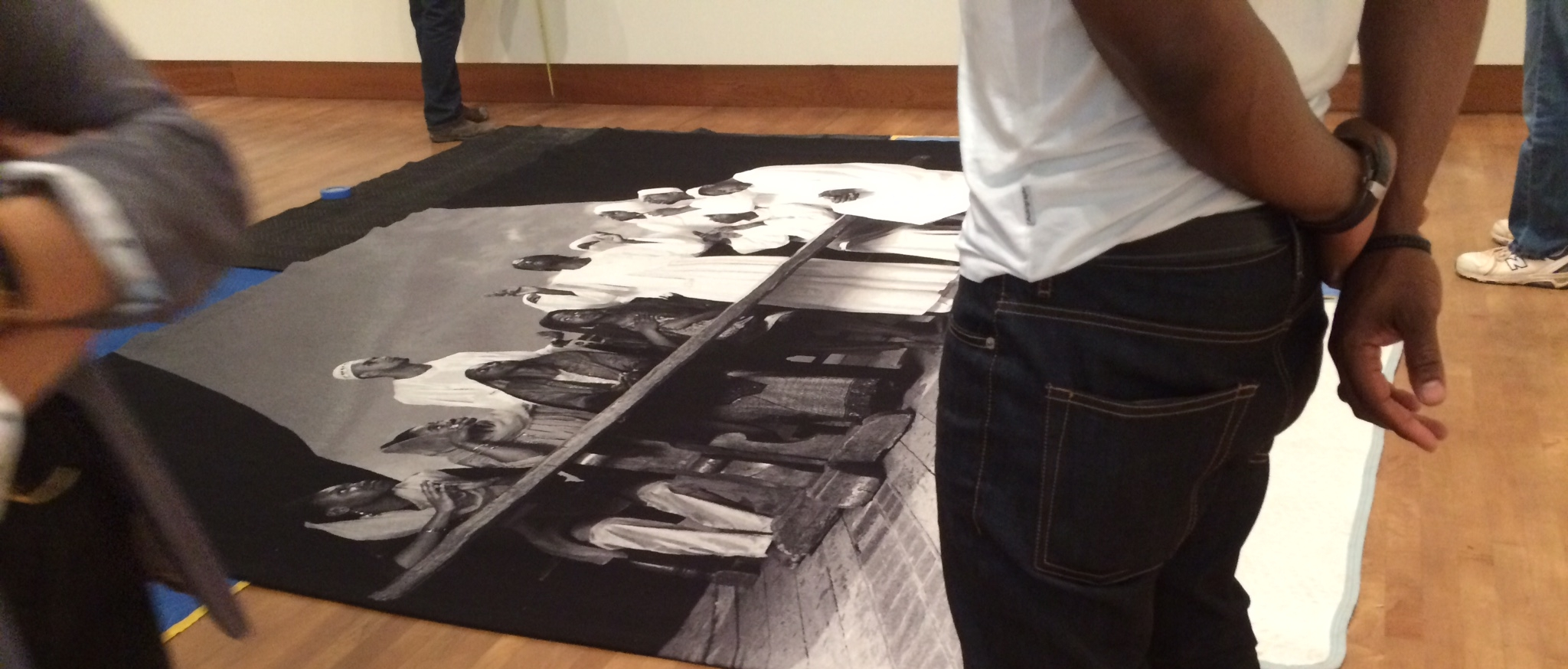 Exhibition preparations for  Squad - The calling of the Common Hero: Photographs by Faisal Abdu'Allah, at the Chazen Museum. Photo: L. Harper