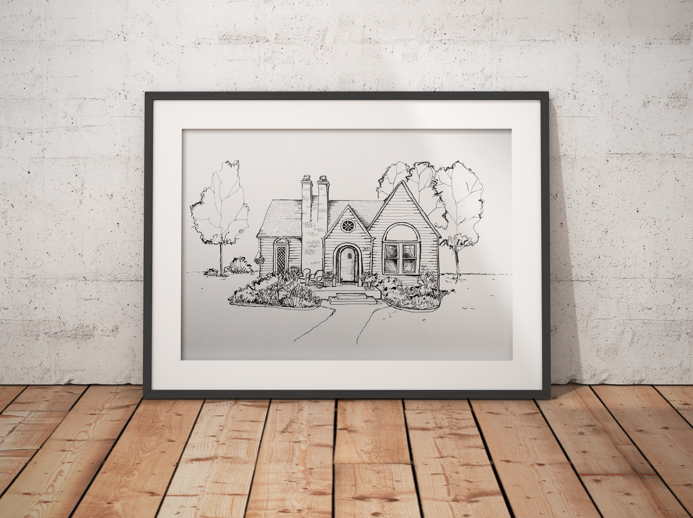 """Shown above: An example of large format 16"""" x 20"""" black and white home illustration, matted and ready for hanging! Contact me for more information about sizing and color options for your own custom artwork."""