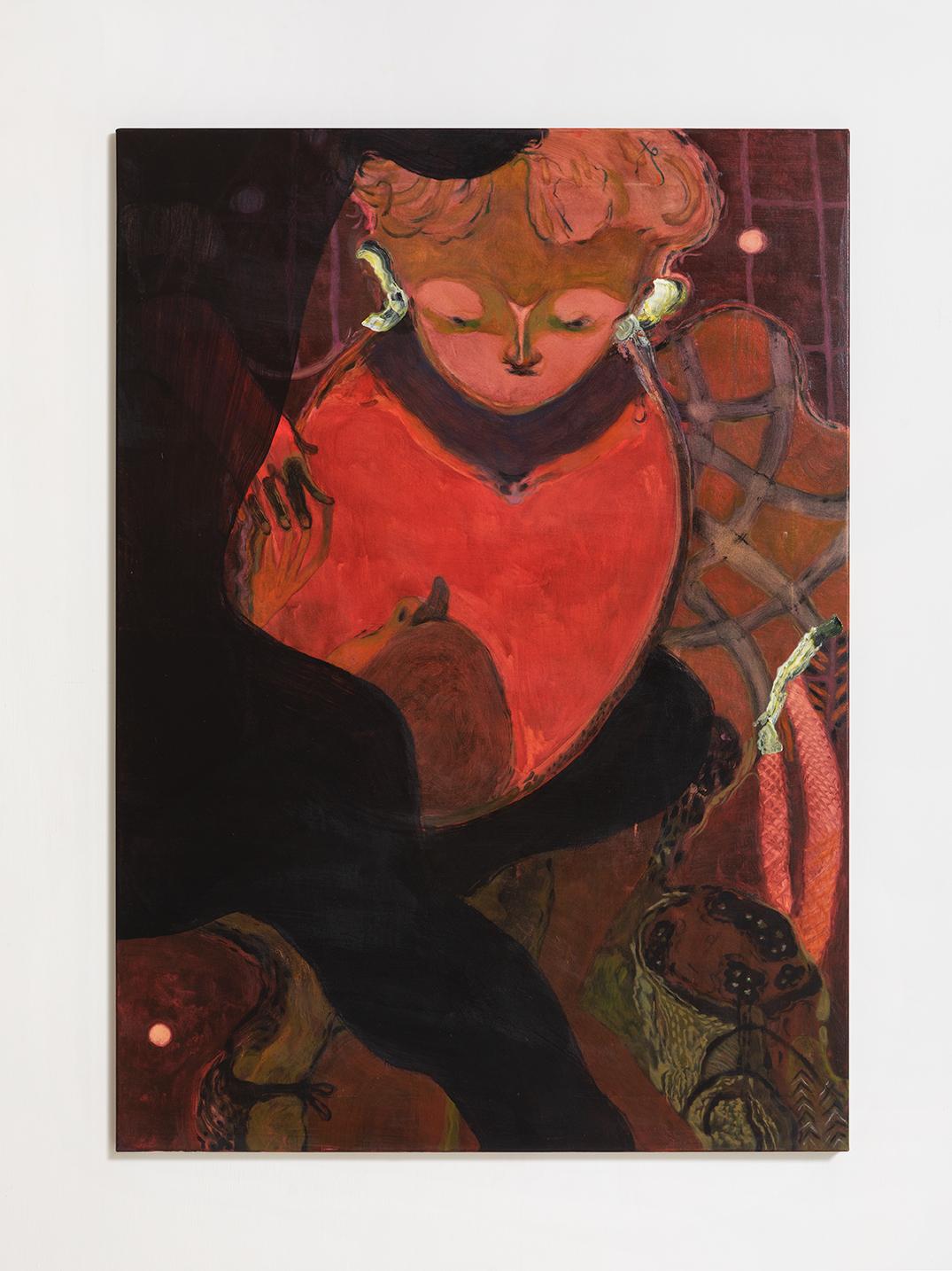 Guglielmo Castelli, Saliva, 2019, tecnica mista su tela, 140x100 cm