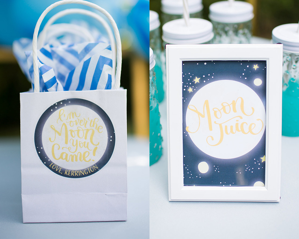 Moon Party Favour Bags and signs