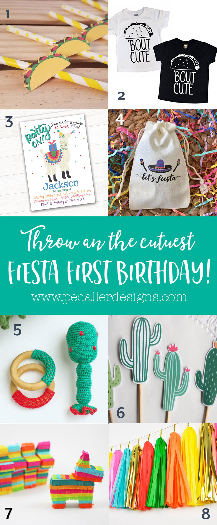 All the cutest ideas and things you need for a memorable Fiesta first birthday party! Everything from cactus, tacos and llamas to make your celebration extra special for your little amigo.