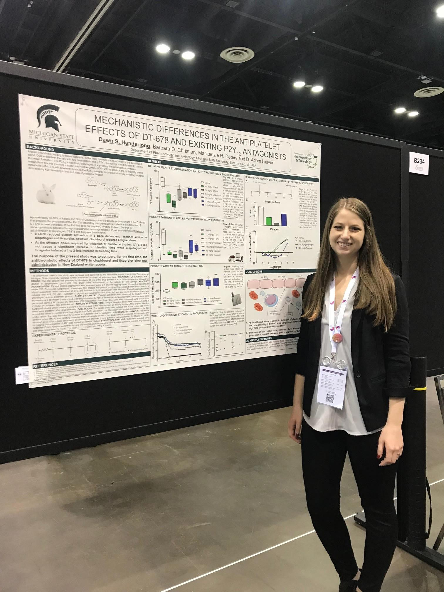 """Tuesday morning I presented my poster entitled, """"Mechanistic Differences in the Antiplatelet Effects of DT-678 and Existing P2Y12 Antagonists."""""""