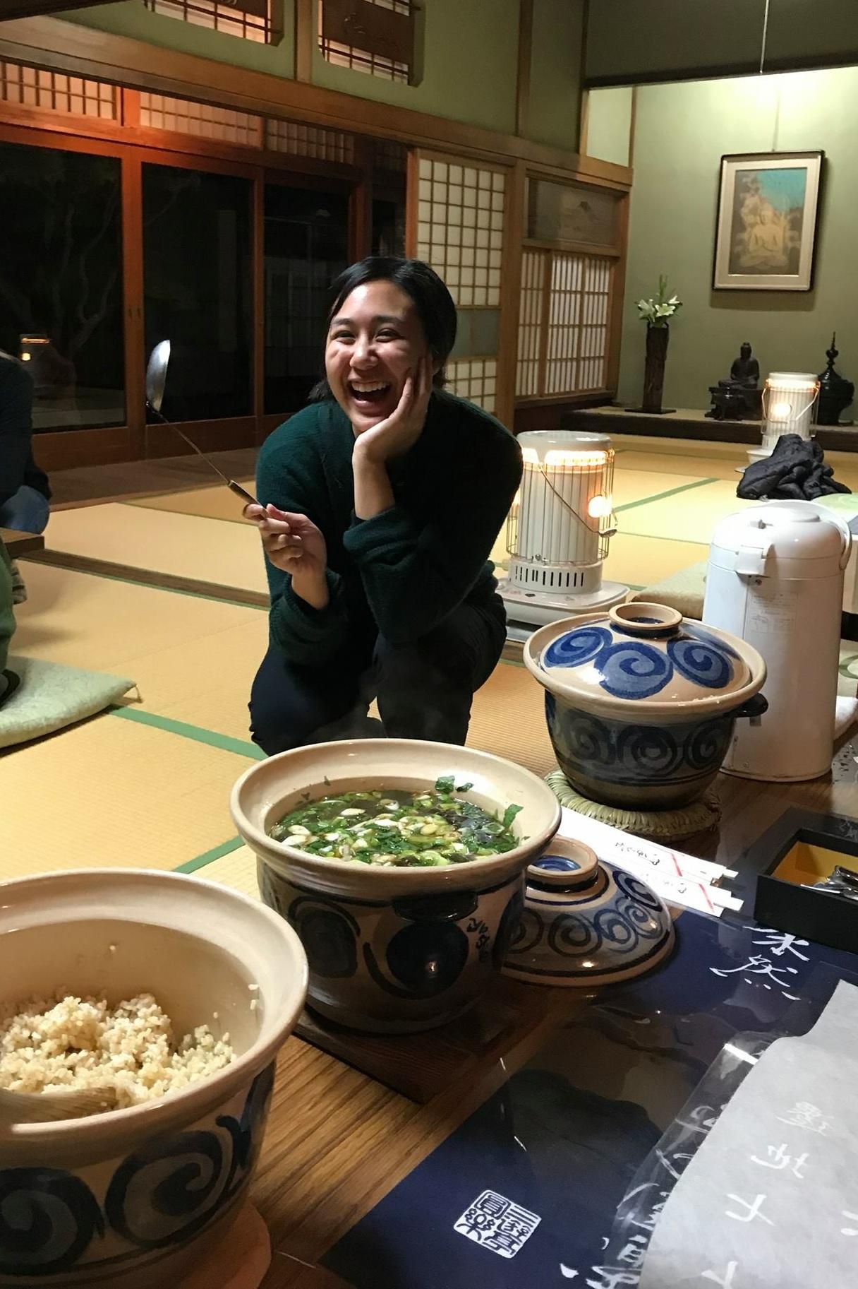 Looks so good! Seasonal rice dish and soup.
