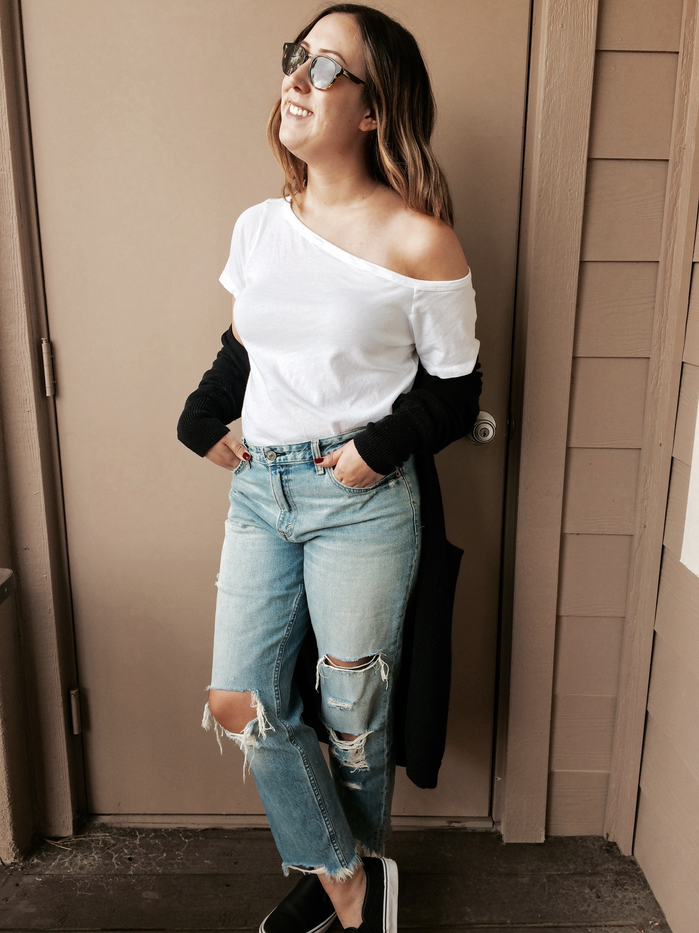 For my third look, I wanted something super casual that would be great for a day of running errands or hanging out. I paired my boyfriend jeans with a not so basic white tee, a long black cardigan and slip on sneakers!