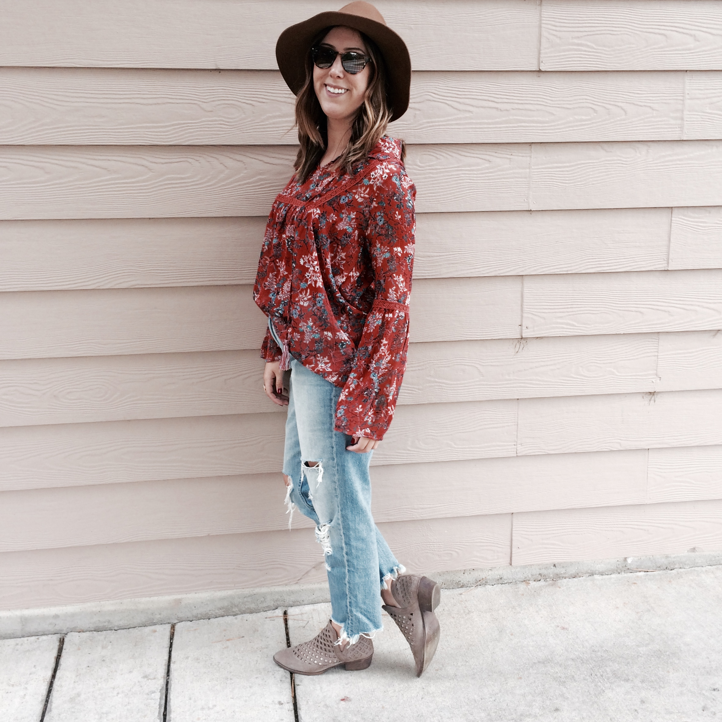 I half tucked my blouse, and accessorized with cut out booties and a floppy hat for all the fall vibes!