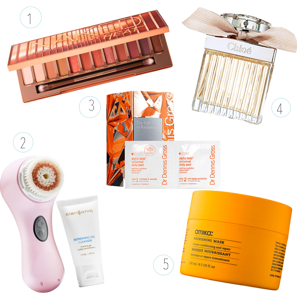 1) NAKED Heat eyeshadow palette (I have 2 other NAKED palettes and love them) 2) Mia 2 Clarisonic Brush & Cleanser 3) Dr. Dennis Gross Alpha Beta Universal Daily Peel Wipes 4) Chloe Perfume (I have the roller ball and LOVE this scent) 5) Amika Nourishing Hair Mask (for those cold, winter months)
