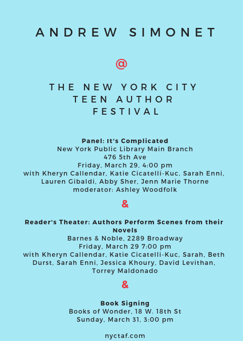 I'm doing events in NYC + Baltimore - NYC Teen Author Fest Friday March 29 I'm on a panel about complexity in YA relationships at the NYPL. And most thrillingly/embarrassingly, I will be part of a group of authors staging scenes from our novels at the Upper West Side Barnes and Noble. Info here.Baltimore's CityLit Festival Saturday, April 27 I am on a panel with Susan Muaddi Darraj, who will introduce one of the first ever middle-grade series about an Arab-American girl, Tiffany D. Jackson, author of Monday's Not Coming, and Sharon G. Flake, who's celebrating the 20th anniversary of The Skin I'm In. More info soon.