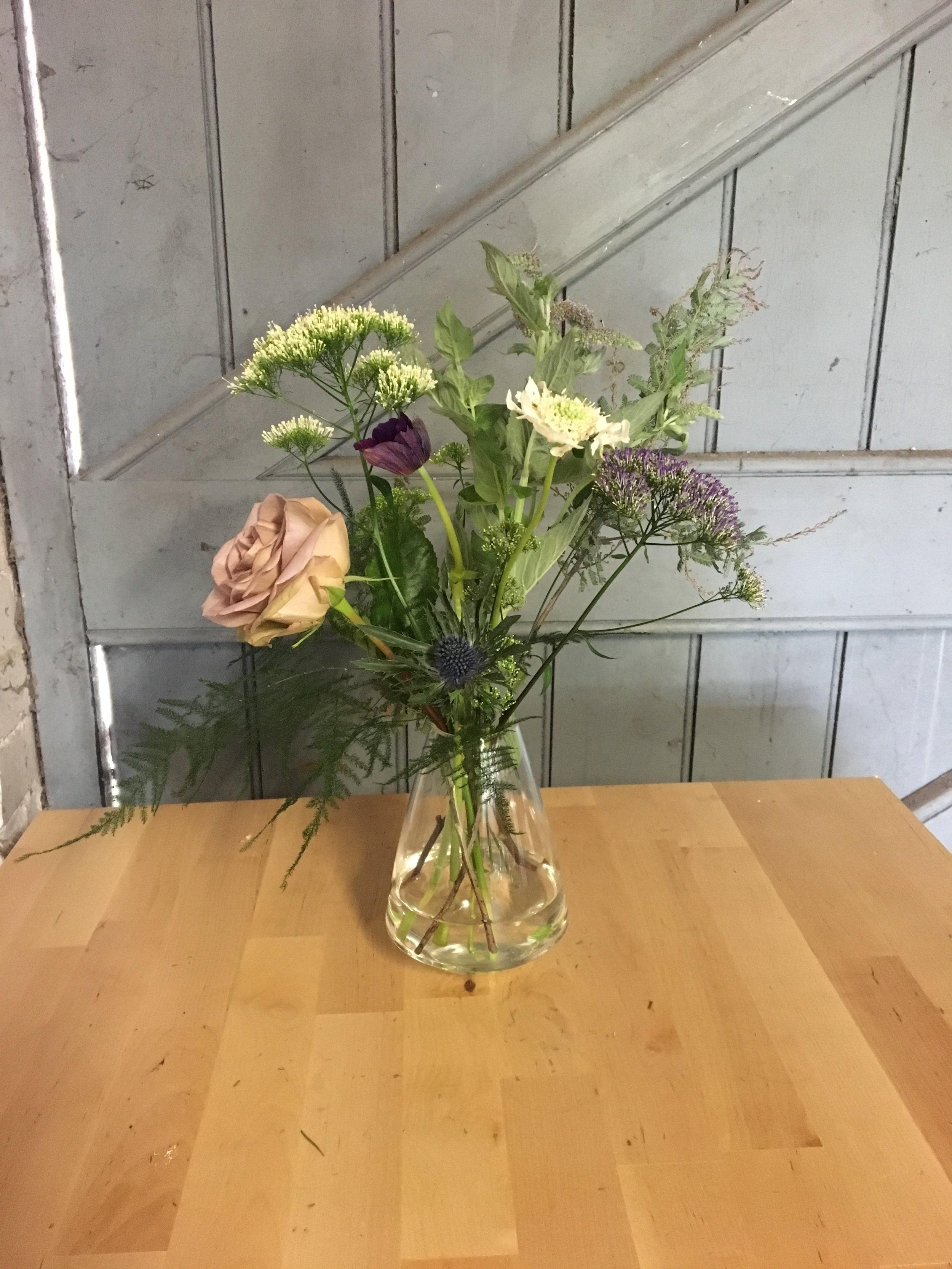 Anemone and rose arrangement