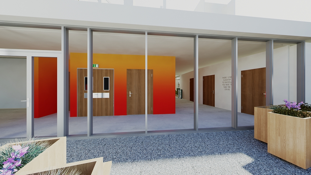3D rendering of the ground floor - beginning of the colorful gradations