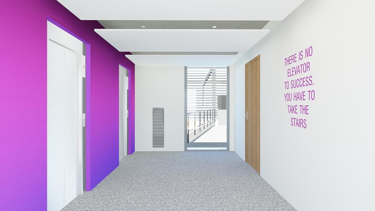 Last landing of elevator - end of the color gradation