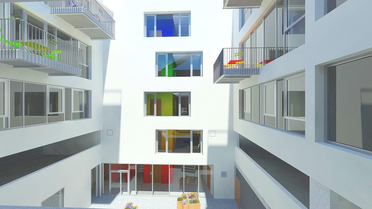 3D rendering of color gradient on elevator bearings - QUANTA Building