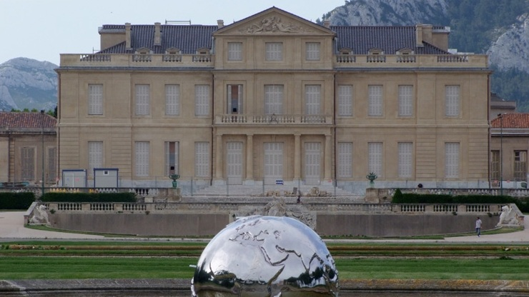 "Cool Globe ""Global Vision"" in front of the Chateau Borely Marseille"