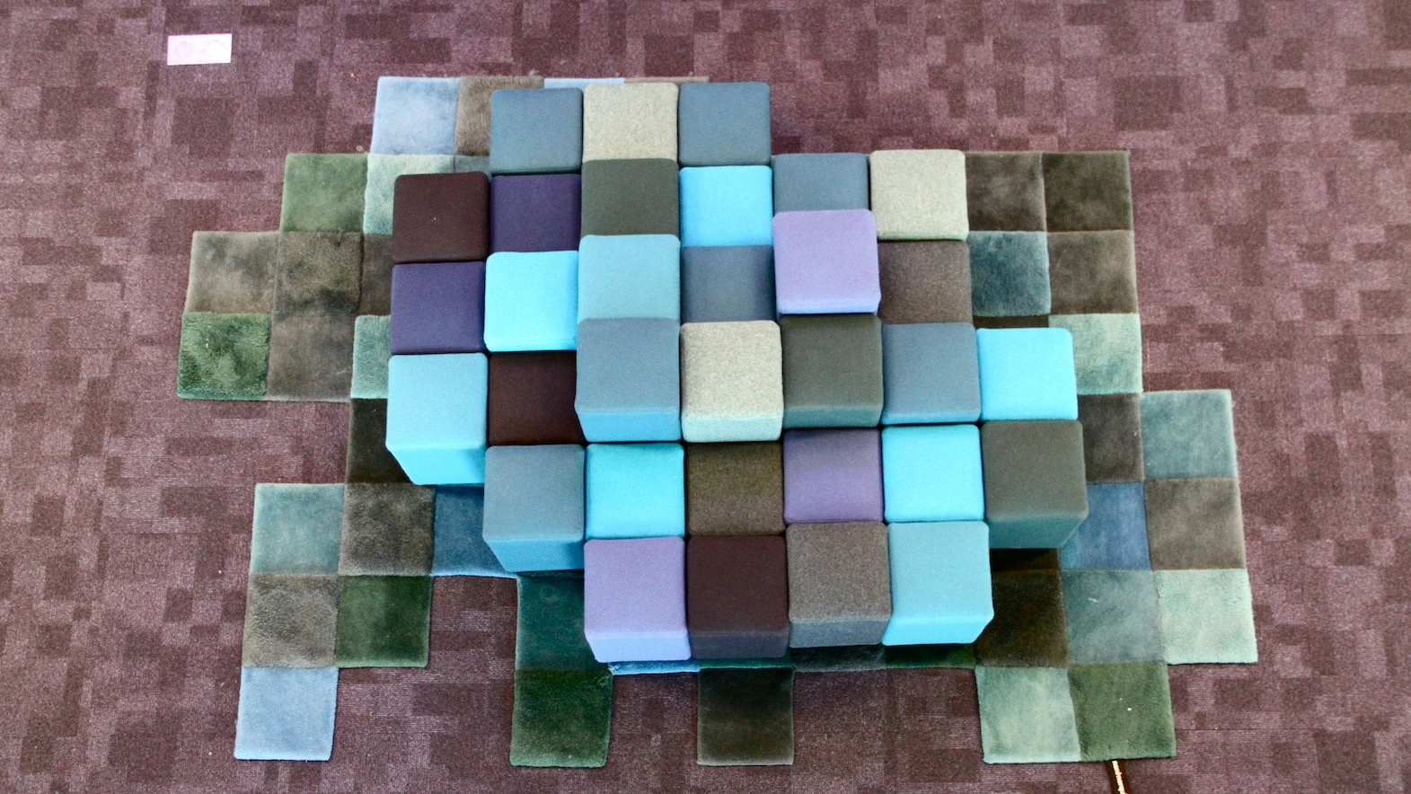 Custom made carpet and couch in pixels