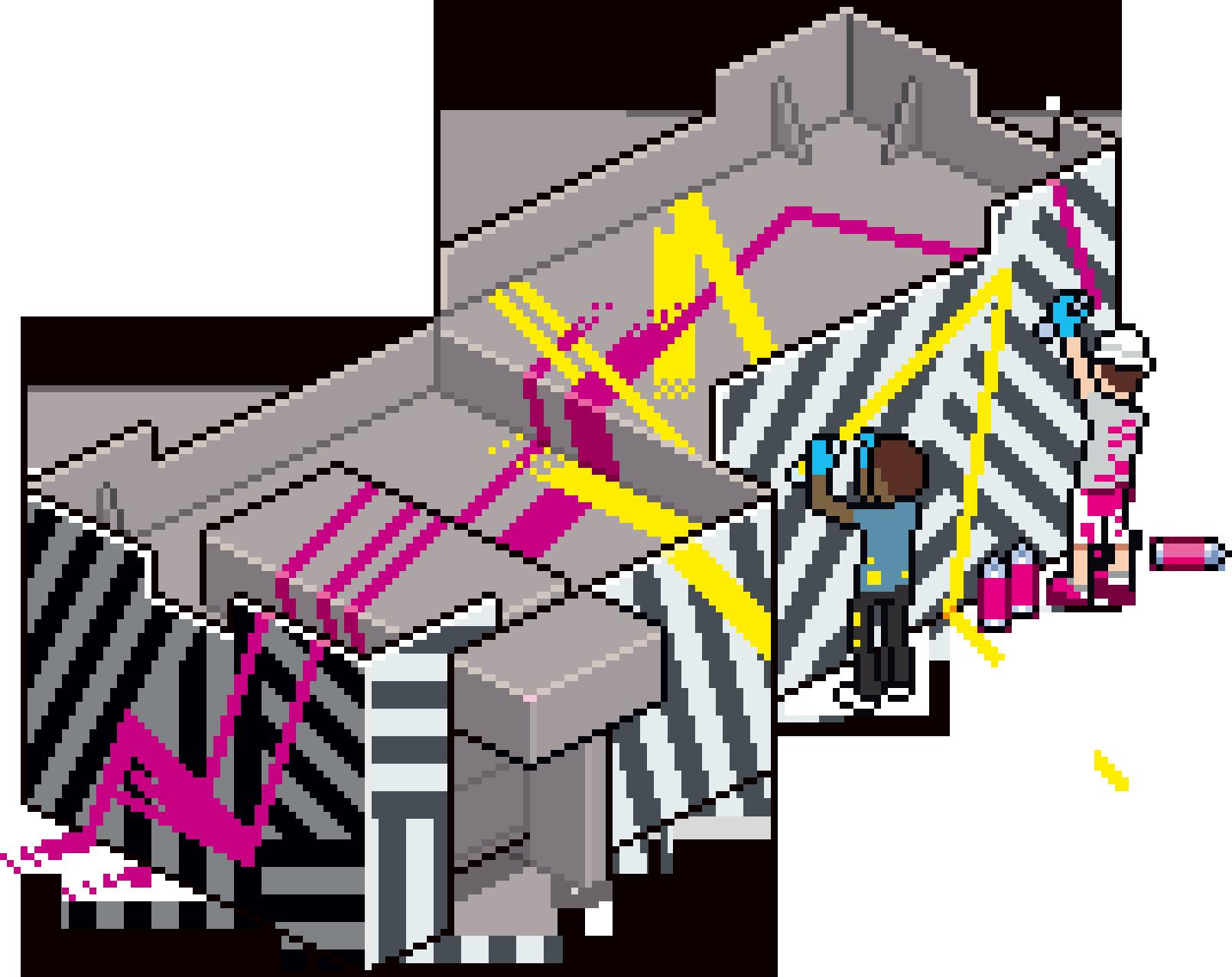 The Golman's building in Pixel Art