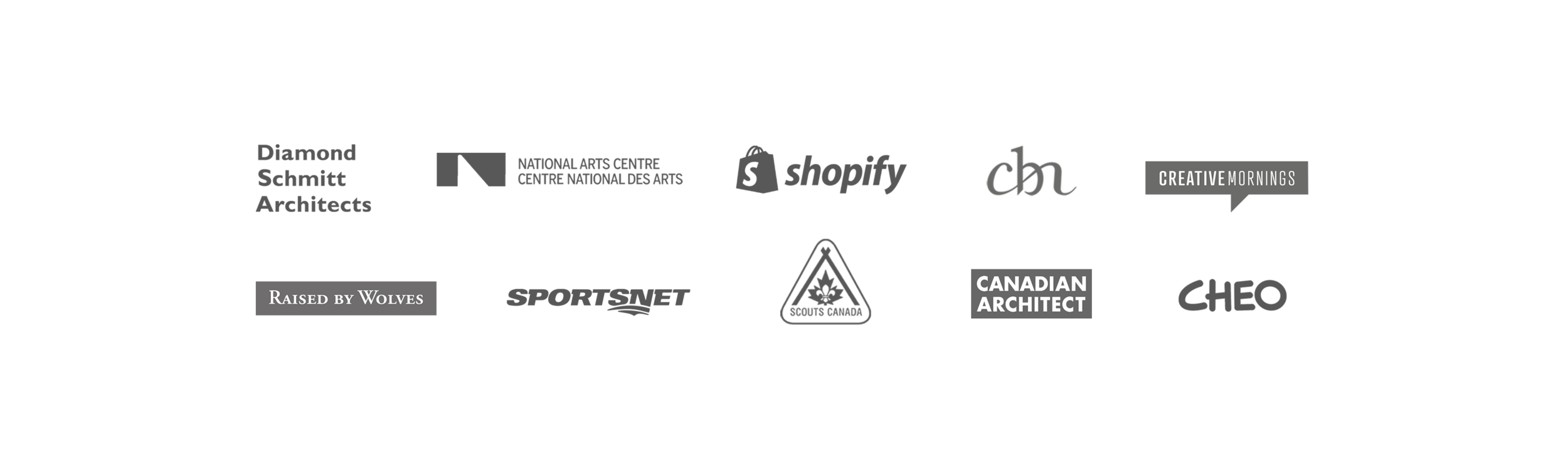 Client list overview: Canadian Architect Magazine, Canadian Bank Note Company, Sportsnet, Raised By Wolves, Interior Design Show Canada, Scouts Canada, CHEO (Children's Hospital of Eastern Ontario), Dwell, Design Lines Magazine, Canadian Interior Magazine, Pure Yoga, Nua Office, Loic, Gold Bar Whiskey Company.