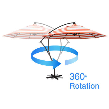 - The Beachcrest Home 9' Cantilever Umbrella features sturdy aluminum framework, tilt and 360 degree rotation.