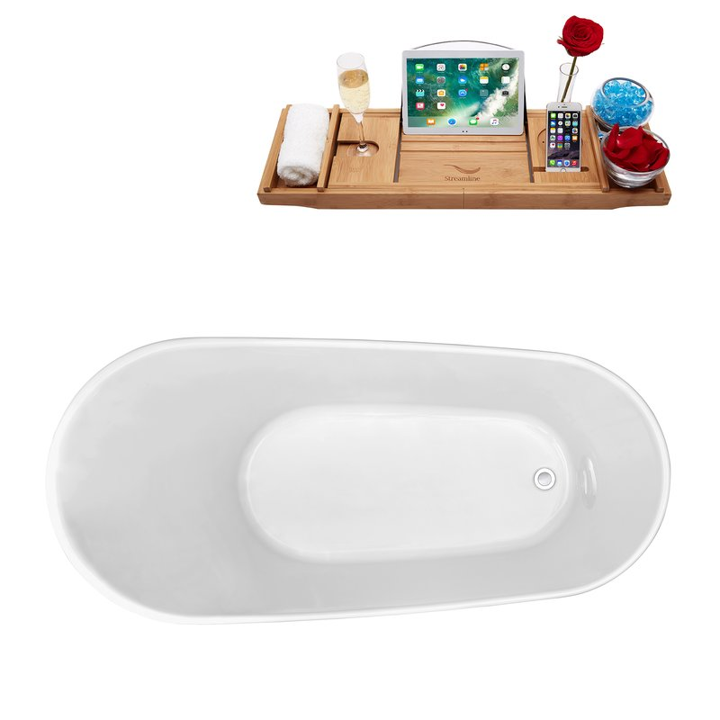 "- Measuring 63""x31.5"", this stylish tub comes with a bath valet for ultimate relaxation."
