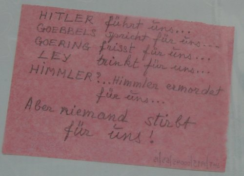 One of their notes making fun of Nazi leaders