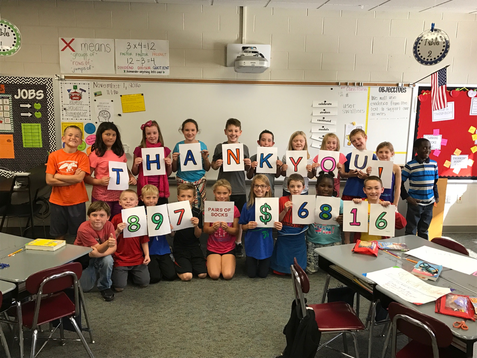 Mrs. Boese's Third Grade Class at Hesston Elementary School raised 897 pairs of socks and $68.16 for the New Hope Shelter in Newton, Kansas! After the drive, they visited the shelter to meet and talk to the residents to see first-hand who they are helping!