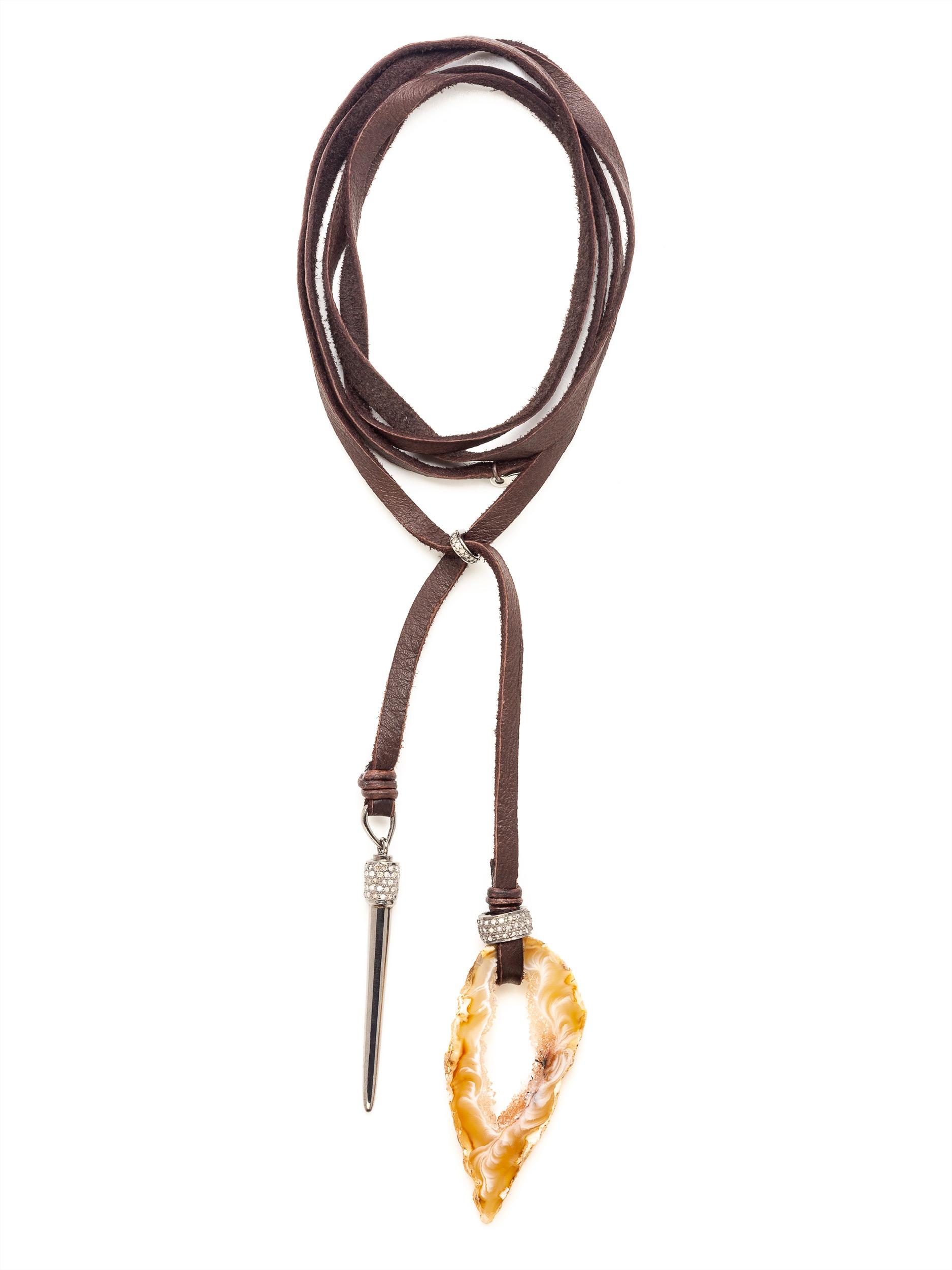 Sliced Geode Pave Diamond Leather Deerskin Necklace